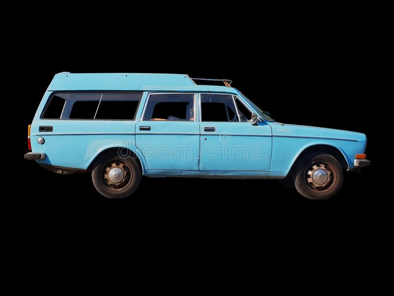Carro azul clássico isolado fotos de stock