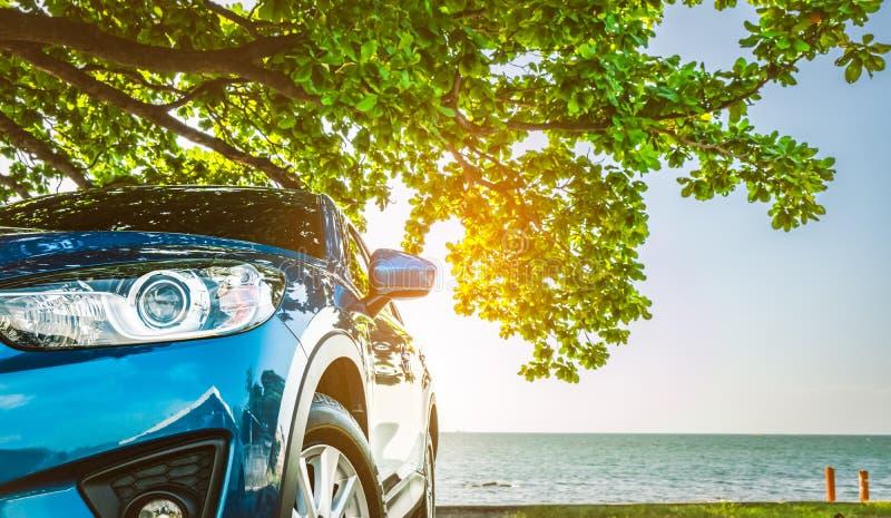 Carro azul de SUV do esporte estacionado pelo mar tropical sob a árvore de guarda-chuva Férias de verão na praia Curso do verão p imagens de stock