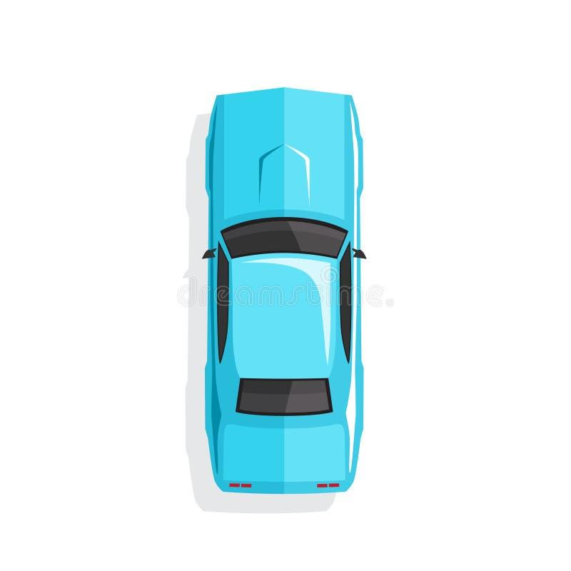 Carro azul do músculo dos desenhos animados Vista superior Ilustração do vetor ilustração royalty free
