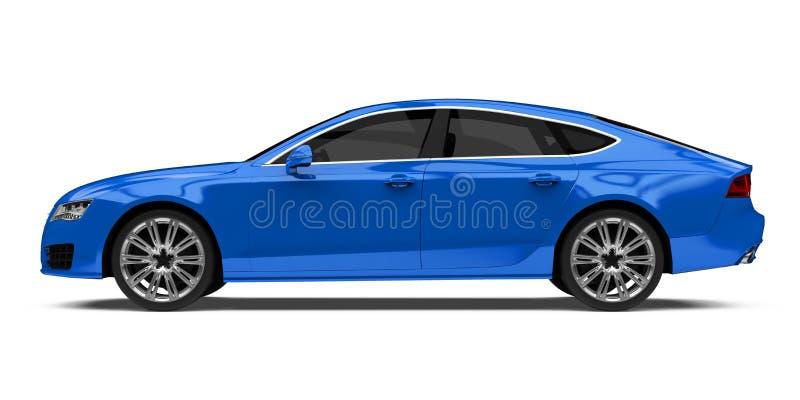Carro azul luxuoso do sedan isolado imagem de stock royalty free