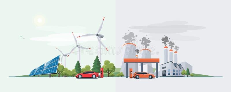 Carro bonde contra a fonte de energia do combustível fóssil ilustração do vetor