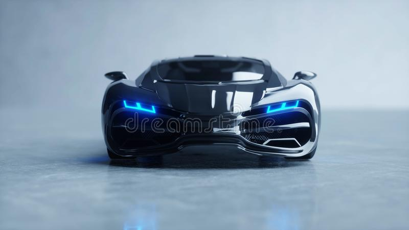Carro bonde futurista preto com luz azul Conceito do futuro rendição 3d ilustração royalty free