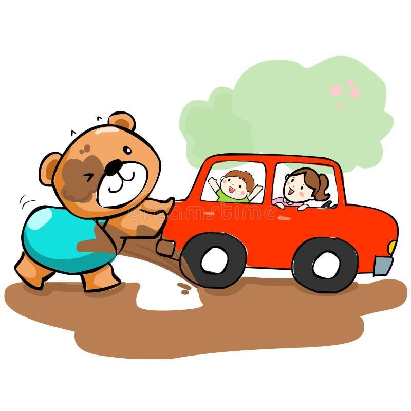 Carro bonito da ajuda do urso colado na lama ilustração royalty free