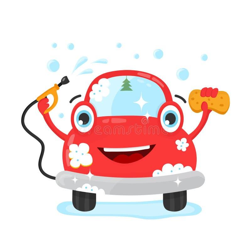 Carro bonito feliz do espaço livre do divertimento com mangueira e toalha de rosto ilustração do vetor