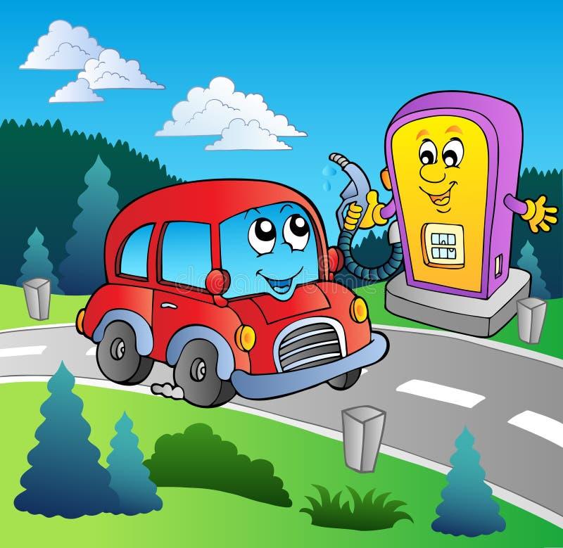 Carro bonito no posto de gasolina dos desenhos animados ilustração stock
