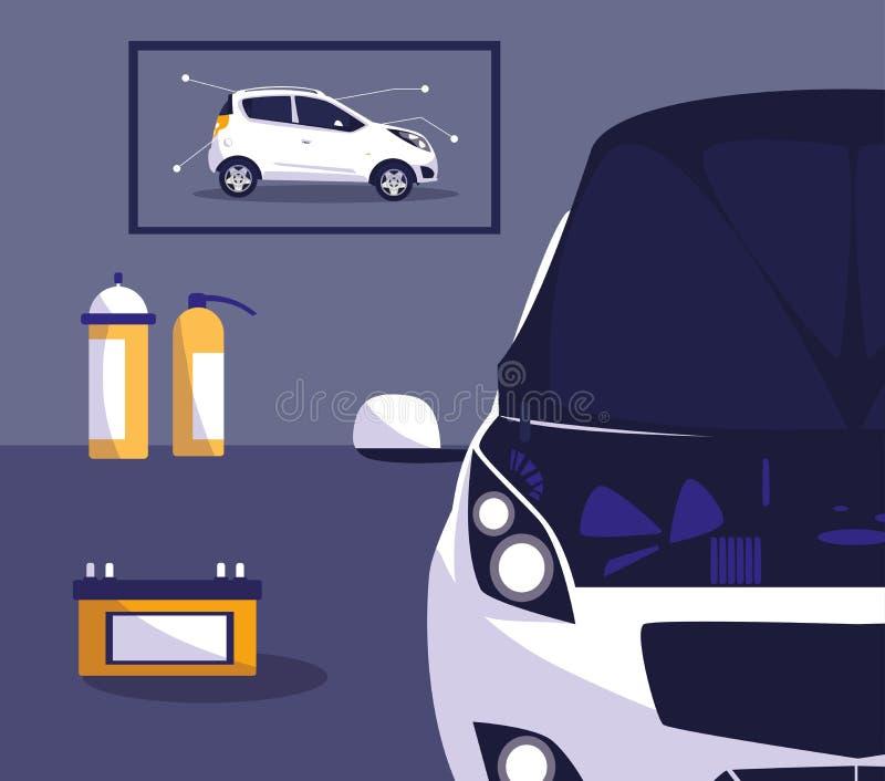 Carro branco na oficina de manutenção ilustração stock