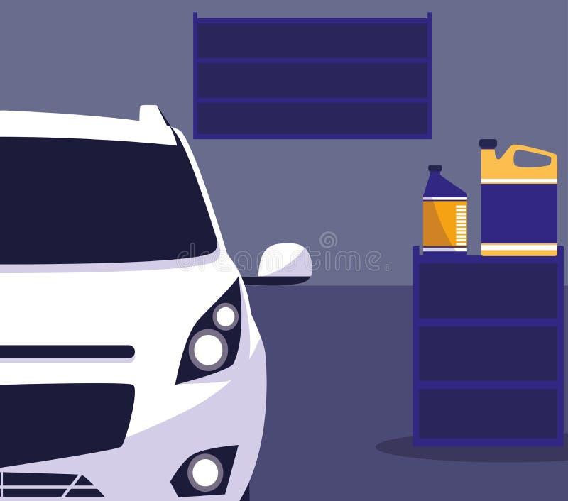 Carro branco na oficina de manutenção ilustração royalty free