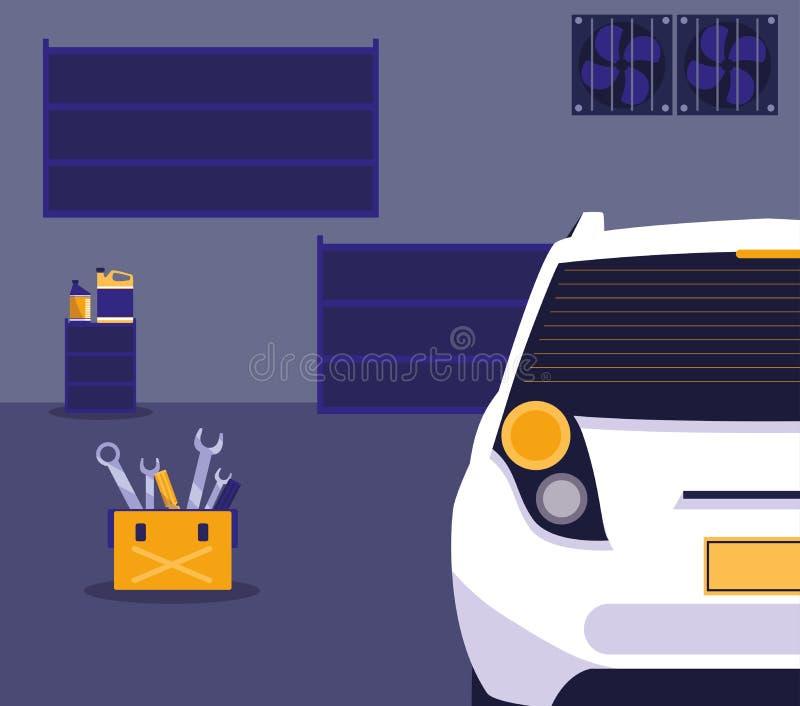 Carro branco na oficina de manutenção ilustração do vetor