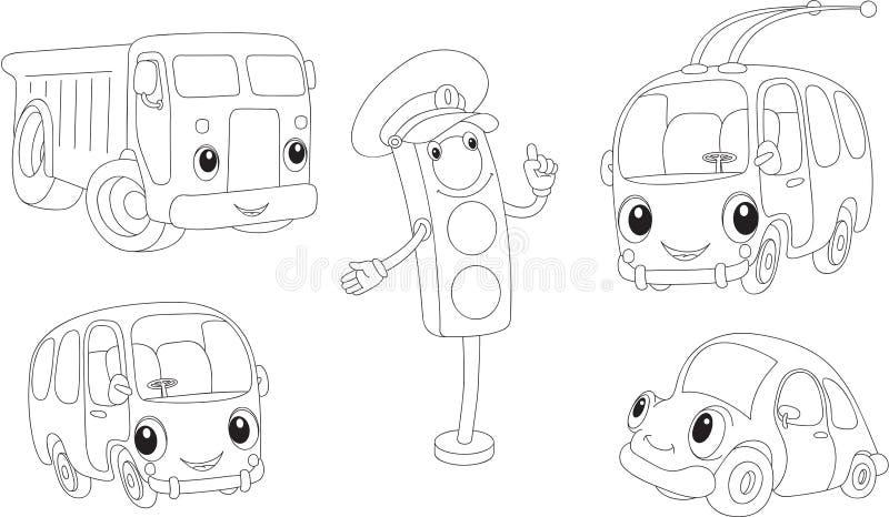 Carro, caminhão, ônibus, ônibus bonde e sinais Livro de coloração ilustração stock