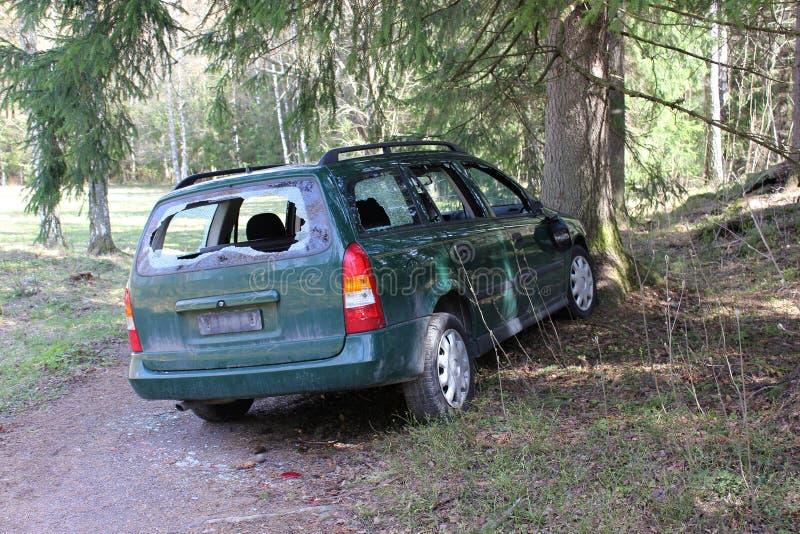 Carro causado um crash fotografia de stock royalty free