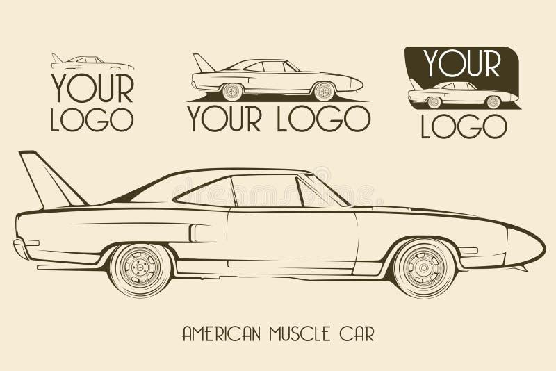 Carro clássico americano do músculo, silhuetas, logotipo imagem de stock