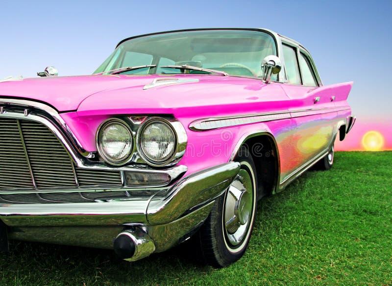 Carro clássico do desoto do vintage do sonho americano no por do sol foto de stock royalty free
