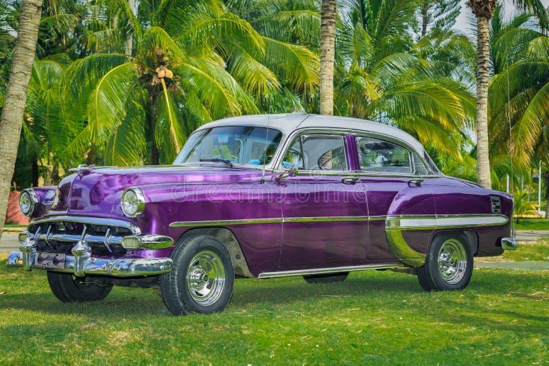 carro clássico do vintage estacionado no jardim tropical imagens de stock