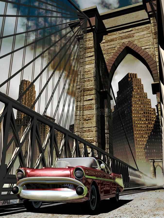 Carro clássico na cidade velha ilustração royalty free