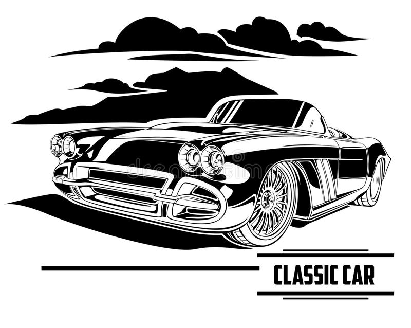Carro clássico na ilustração detalhada magnífica de Lineart fotografia de stock royalty free