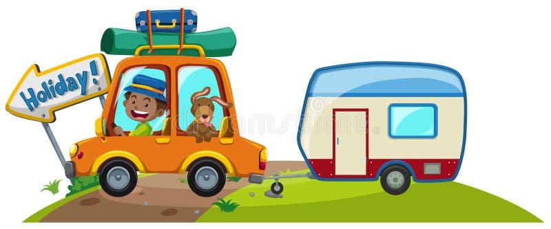 Carro com bagagem e caravana ilustração stock