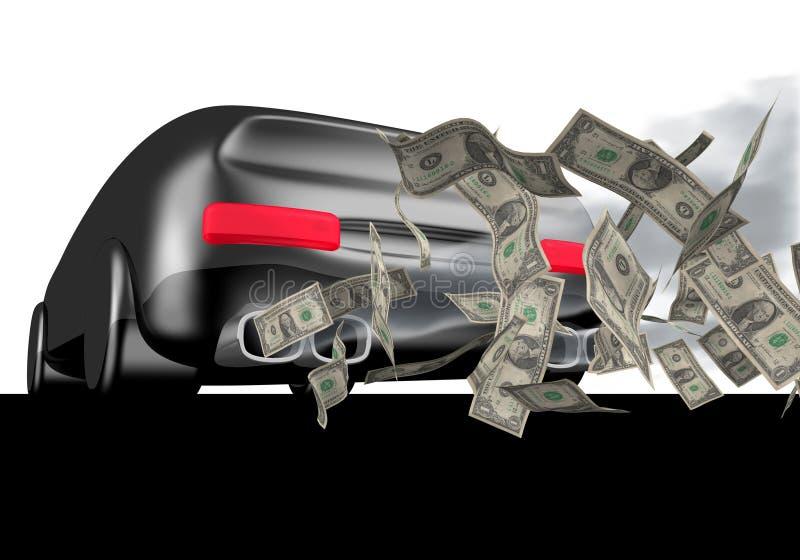 Carro com dólares ilustração stock