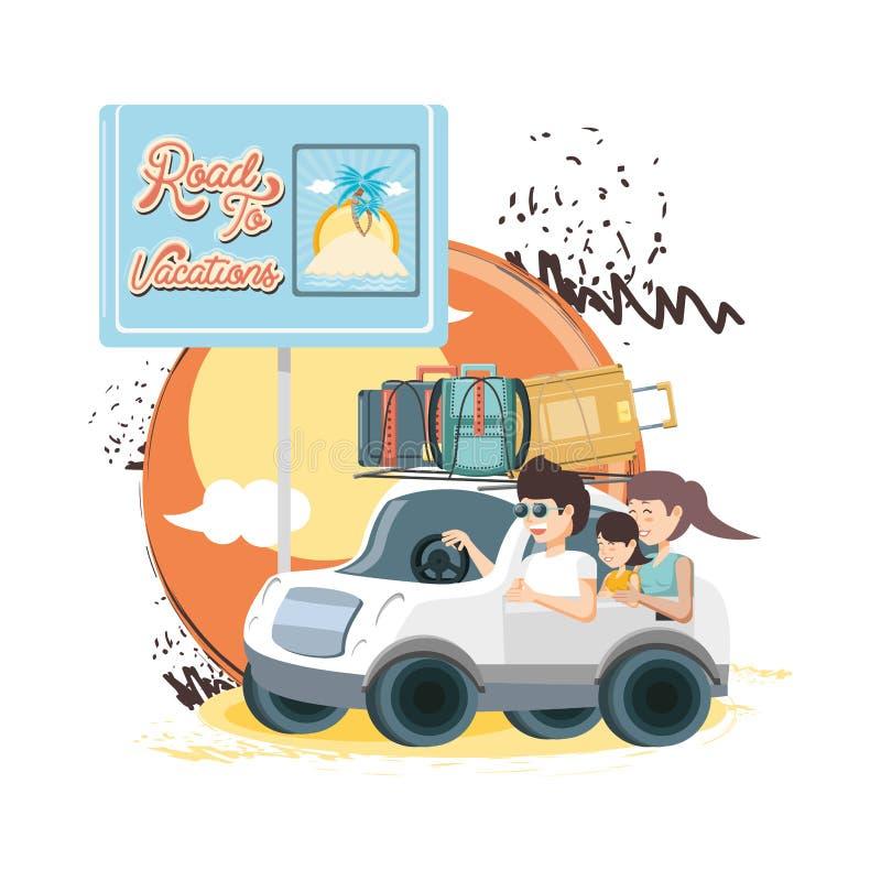 Carro com férias do curso das malas de viagem ilustração stock