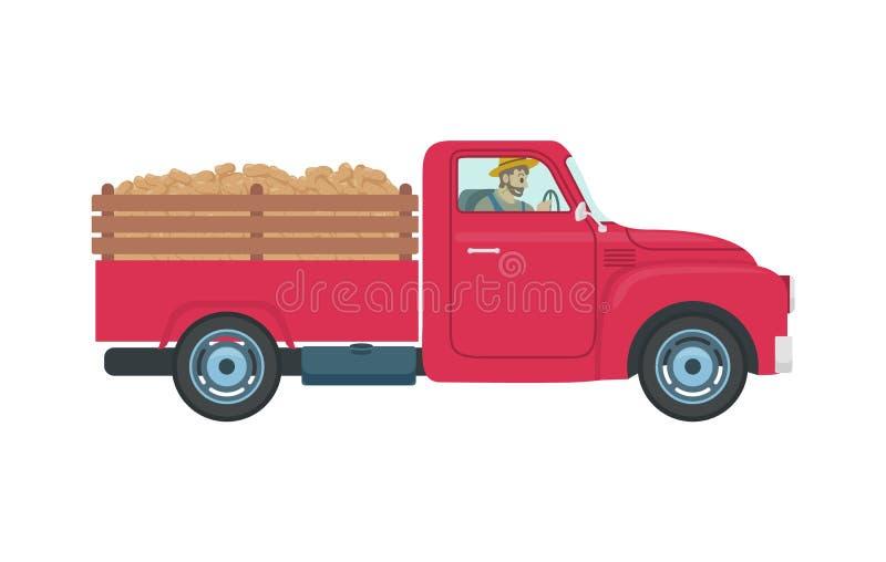 Carro com ilustração do vetor do reboque e da carga ilustração royalty free