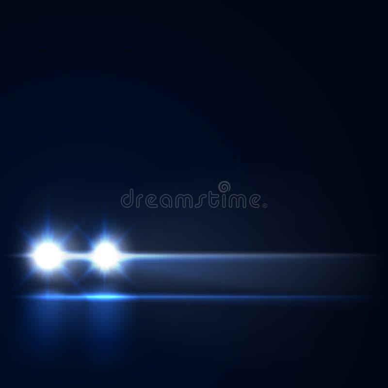 Carro com os faróis brilhantes que aproximam-se nos faróis conduzidos escuros do carro na estrada da noite, ilustração da noite d ilustração royalty free