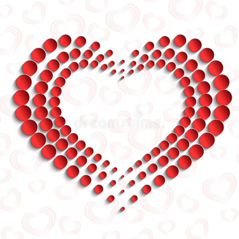 Carro com papel pontilhado vermelho do coração 3d ilustração do vetor