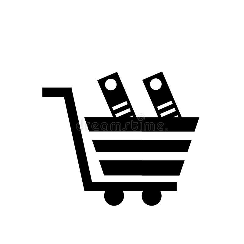 Carro con la muestra y el símbolo del vector del icono de los libros aislado en el fondo blanco, carro con concepto del logotipo  libre illustration