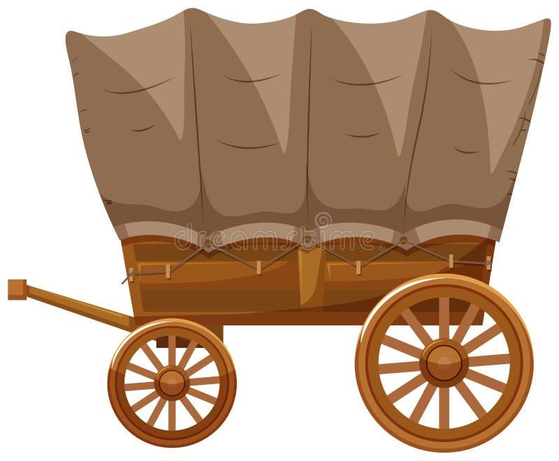 Carro con las ruedas de madera stock de ilustración