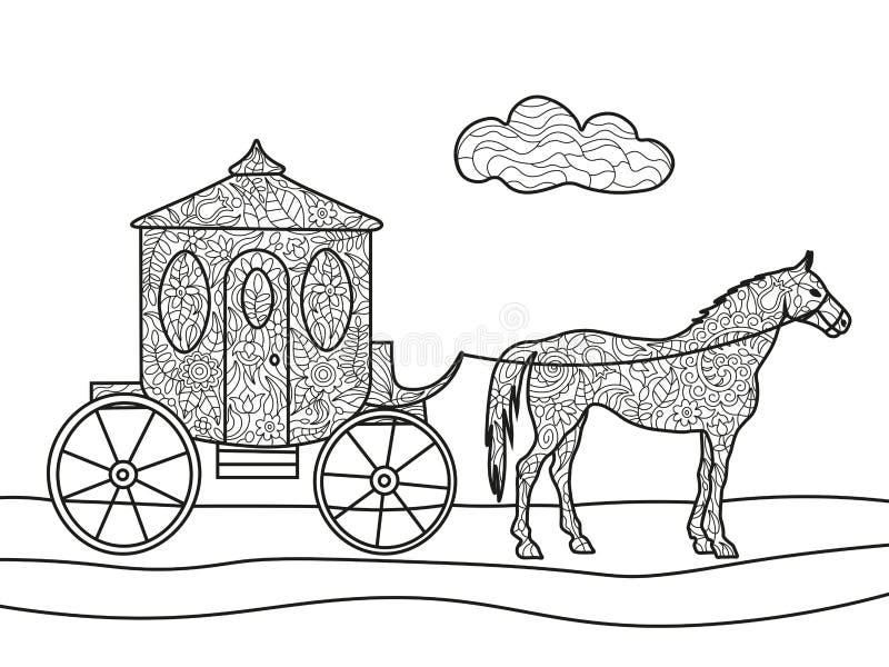 Carro Con Vector Del Libro De Colorear Del Caballo Ilustración del ...