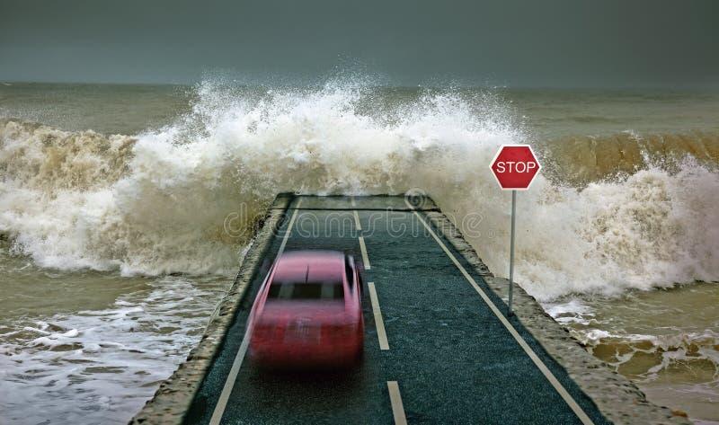 Carro contra a onda ilustração do vetor