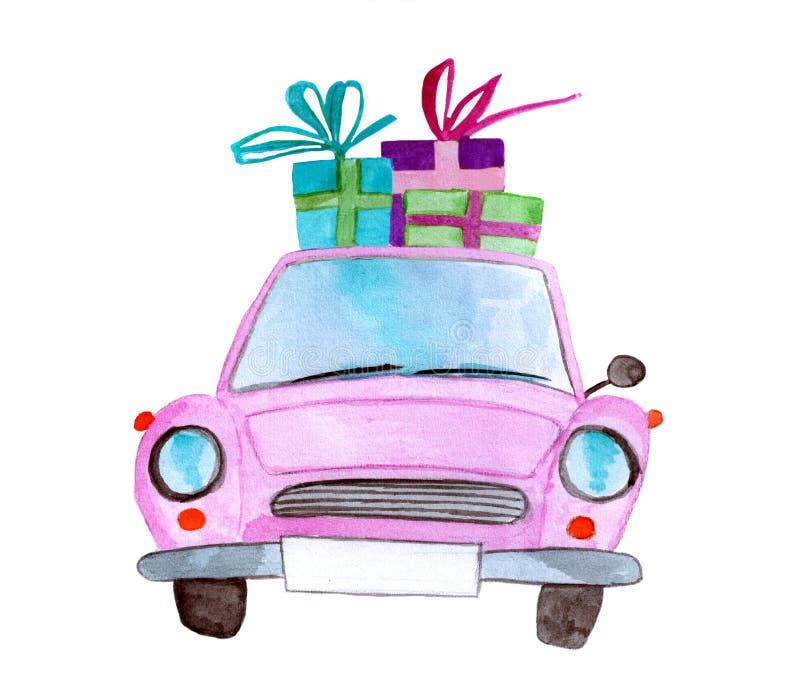Carro cor-de-rosa da aquarela do vintage com presentes foto de stock royalty free