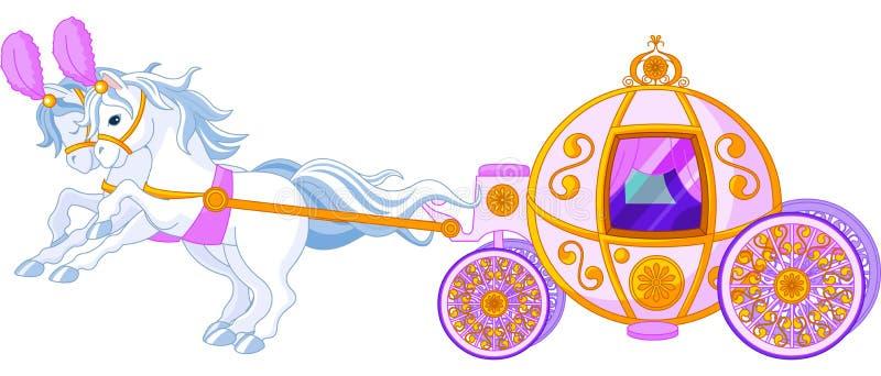 Carro cor-de-rosa do conto de fadas ilustração stock