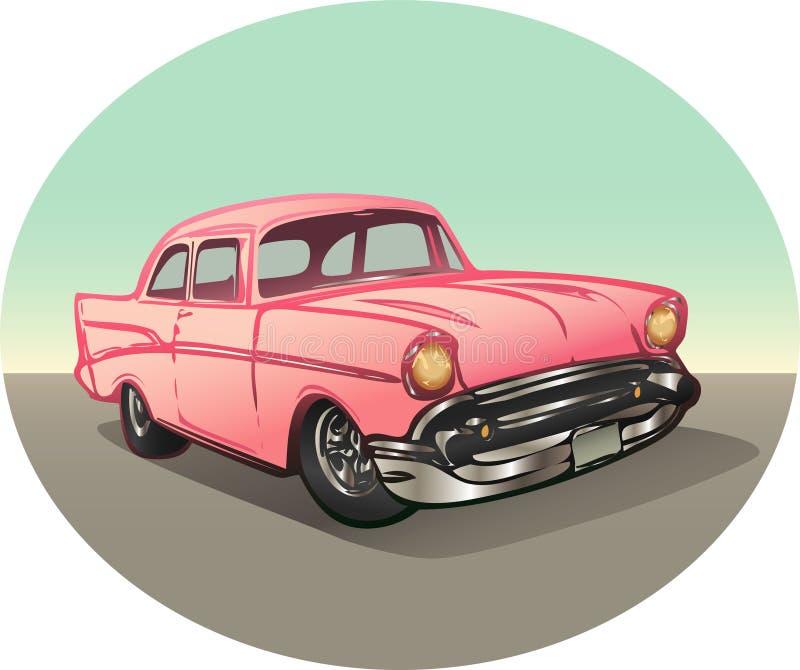 Carro cor-de-rosa do vintage ilustração royalty free