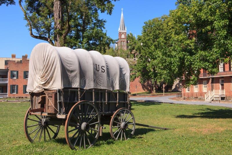 Carro cubierto histórico, transbordador Virginia Occidental de los Harpers imagen de archivo