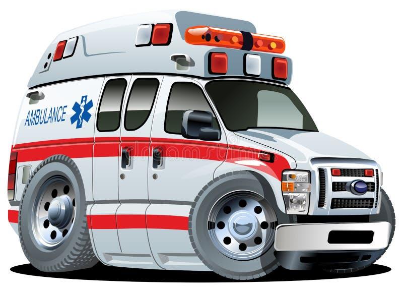 Carro da ambulância dos desenhos animados do vetor ilustração stock