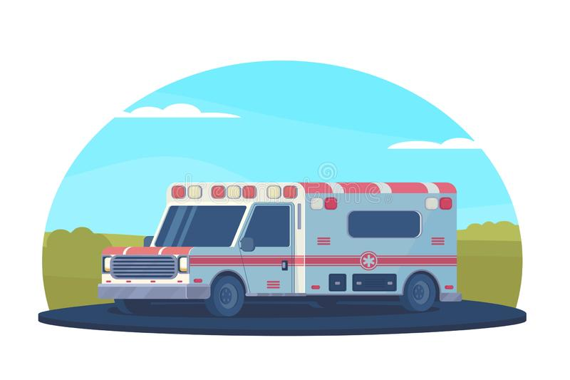 Carro da ambulância na estrada fora da cidade Veículo médico dos primeiros socorros Estilo liso do vetor ilustração do vetor