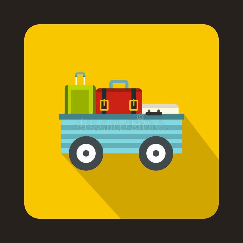Carro da bagagem com ícone das malas de viagem, estilo liso ilustração royalty free