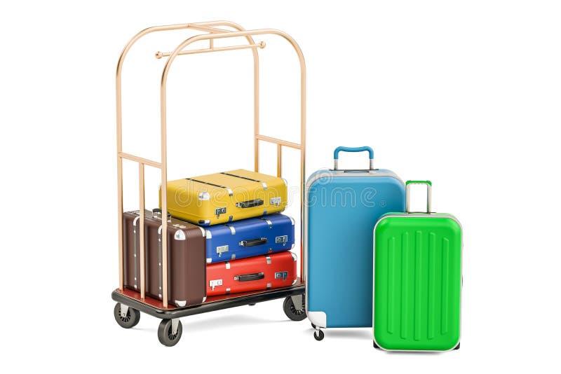 Carro da bagagem ou trole do hotel com malas de viagem coloridas, 3D ilustração royalty free