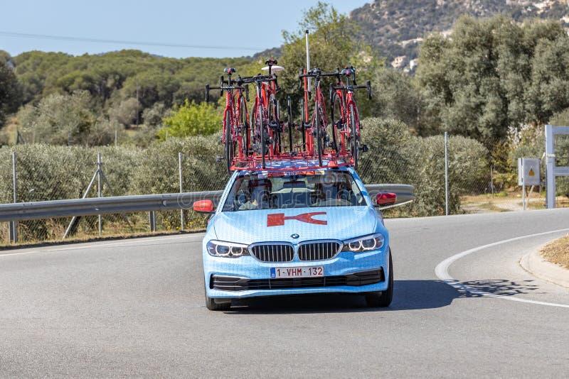 Carro da equipe da estrada de Volta que dá um ciclo em Catalonia na fase 3 de Sant Feliu de Guixols a Vallter 2000 27 03 Espanha  fotografia de stock royalty free