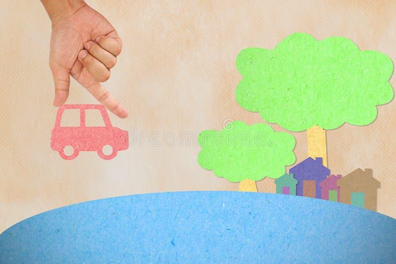 Carro da preensão da mão à vila ilustração do vetor