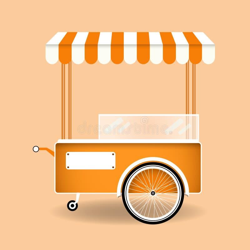 Carro da rua do alimento Gelado dos desenhos animados, cachorro quente, carro retro da pipoca ilustração royalty free