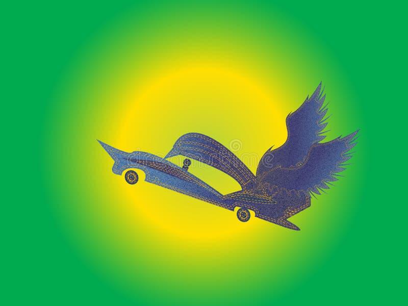 Carro da sarja de Nimes do voo no sol do ar no fundo ilustração do vetor