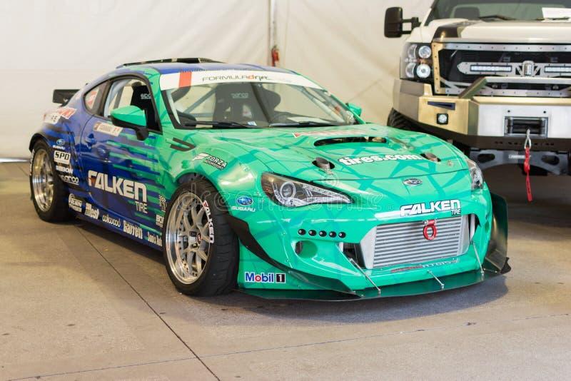 Carro da tração da fórmula de Subaru BRZ do pneu de Falken na exposição foto de stock royalty free