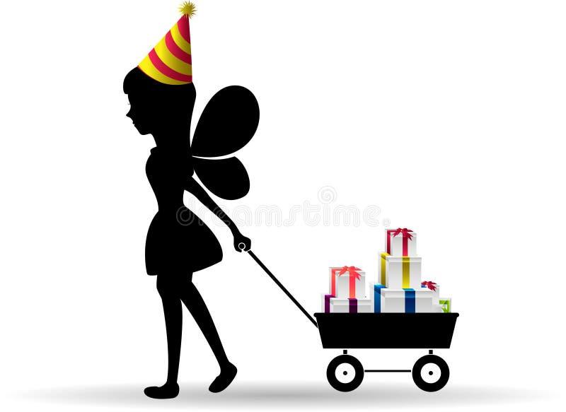 Carro da tração da menina enchido com a silhueta dos presentes ilustração royalty free