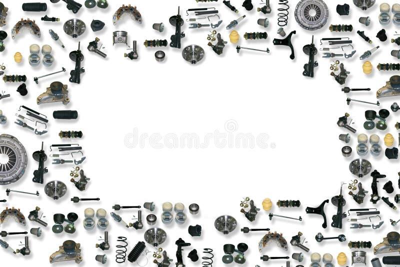 Carro das peças sobresselentes no fundo branco imagens de stock royalty free
