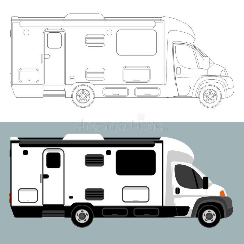 Carro de acampamento, ilustração do vetor, alinhando a tração, ilustração royalty free