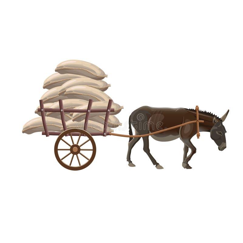 Carro de asno com sacos ilustração do vetor