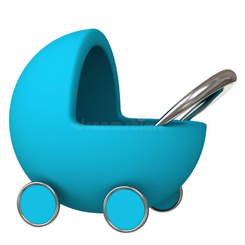 Carro de bebé azul 3d stock de ilustración