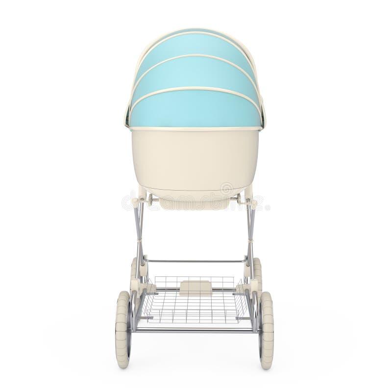 Carro de bebé azul moderno, cochecito, cochecito de niño representaci?n 3d imagen de archivo libre de regalías