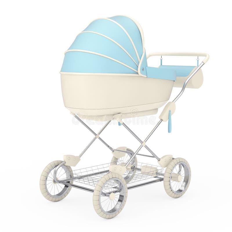 Carro de bebé azul moderno, cochecito, cochecito de niño representaci?n 3d fotografía de archivo