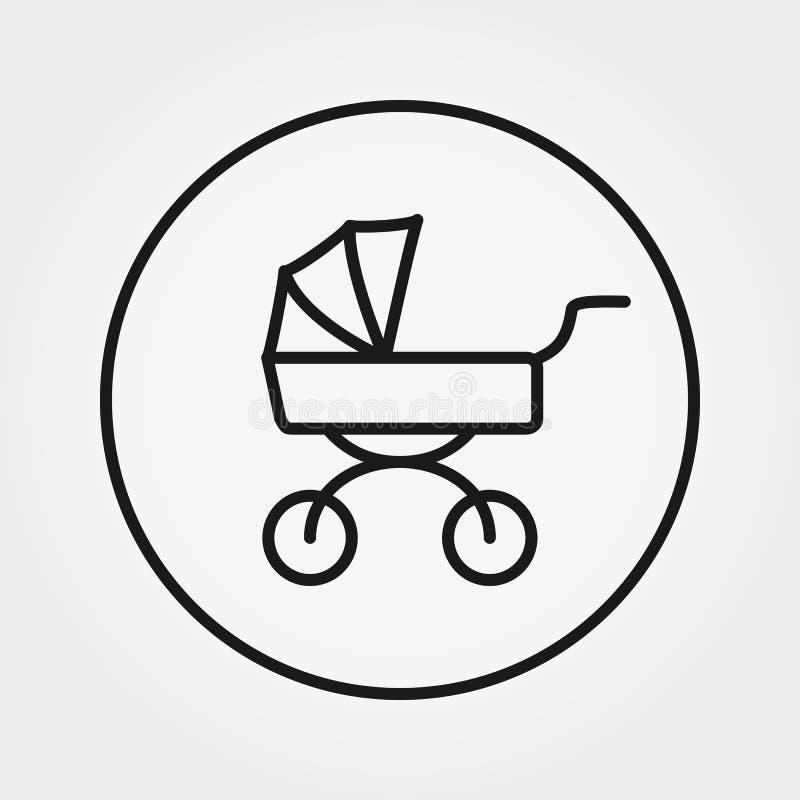 Carro de bebé Icono universal para el web y la aplicación móvil Ejemplo del vector en un fondo blanco Línea fina Editable libre illustration
